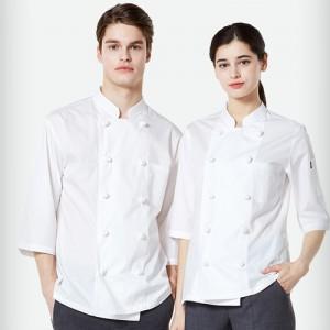 SOO-121 백색45수 7부조리복전문조리사,구내식당,주방장옷,전문식당,스판조리복,디자인조리복,요리사
